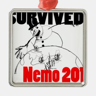 I survived Nemo 2013 Silver-Colored Square Decoration