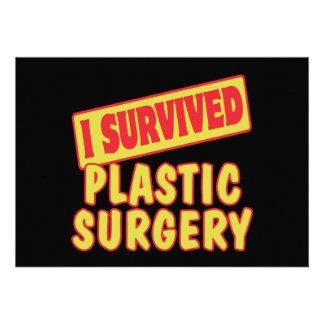 I SURVIVED PLASTIC SURGERY PERSONALIZED INVITATION