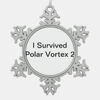 I Survived Polar Vortex 2 Pewter Snowflake Decoration