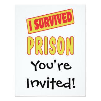 I SURVIVED PRISON 11 CM X 14 CM INVITATION CARD