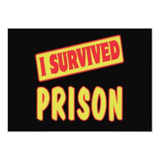 I SURVIVED PRISON 13 CM X 18 CM INVITATION CARD