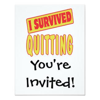 I SURVIVED QUITTING 11 CM X 14 CM INVITATION CARD