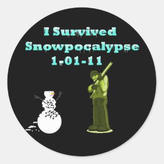 I Survived Snowpocolypse Round Stickers