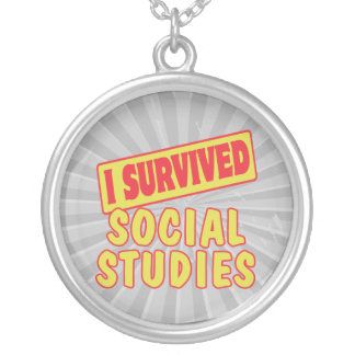 I SURVIVED SOCIAL STUDIES ROUND PENDANT NECKLACE