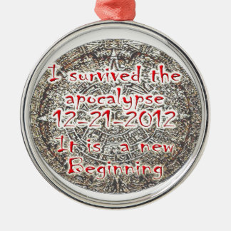 I survived the Apocalypse 12-21-2012 Silver-Colored Round Decoration