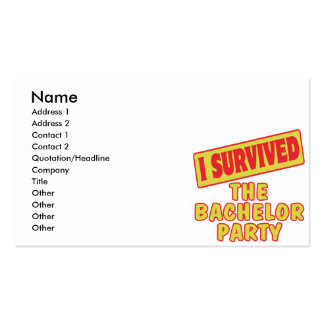 I SURVIVED THE BACHELOR PARTY BUSINESS CARD TEMPLATES