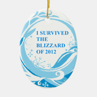 I survived the blizzard of 2012 ceramic oval decoration