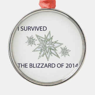 I survived the blizzard of 2014 crystal snowflakes Silver-Colored round decoration