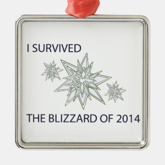 I survived the blizzard of 2014 crystal snowflakes Silver-Colored square decoration