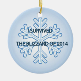 I survived the blizzard of 2014 snowflake round ceramic decoration