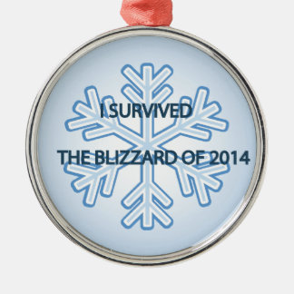 I survived the blizzard of 2014 snowflake Silver-Colored round decoration