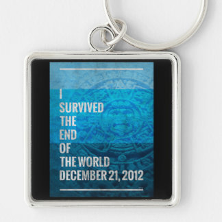 I Survived The End of The World Silver-Colored Square Key Ring