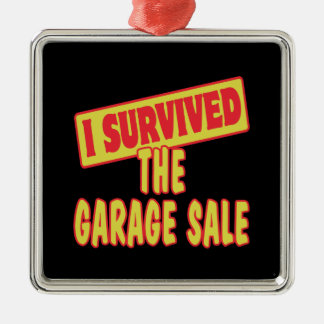I SURVIVED THE GARAGE SALE Silver-Colored SQUARE DECORATION