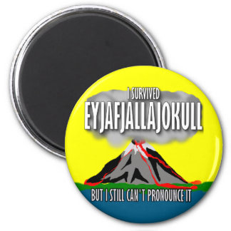 I Survived The Iceland Volcano 6 Cm Round Magnet