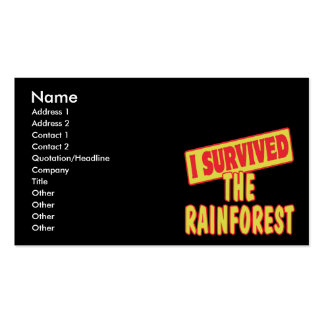 I SURVIVED THE RAINFOREST BUSINESS CARD TEMPLATES