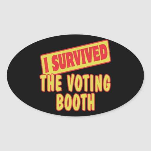 I SURVIVED THE VOTING BOOTH OVAL STICKER