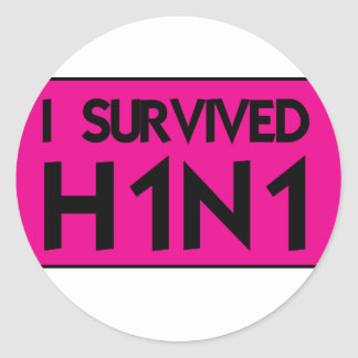 I Survived to H1N1 Round Stickers