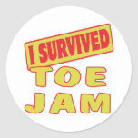 I SURVIVED TOE JAM ROUND STICKERS