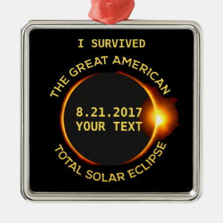 I Survived Total Solar Eclipse 8.21.2017 USA Silver-Colored Square Decoration