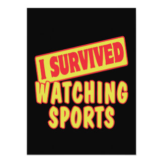 I SURVIVED WATCHING SPORTS 17 CM X 22 CM INVITATION CARD