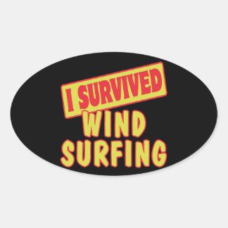 I SURVIVED WINDSURFING OVAL STICKER