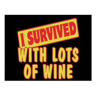 I SURVIVED WITH LOTS OF WINE POSTCARD