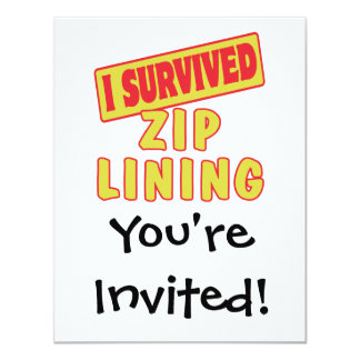 I SURVIVED ZIP LINING 11 CM X 14 CM INVITATION CARD