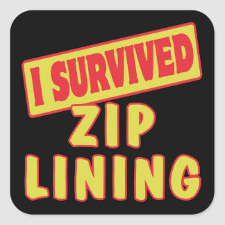 I SURVIVED ZIP LINING SQUARE STICKER