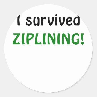 I Survived Ziplining Round Sticker