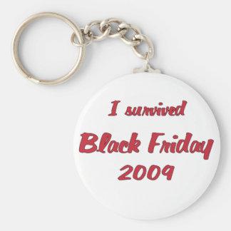 I survivied Black Friday 2009 shopping Basic Round Button Key Ring