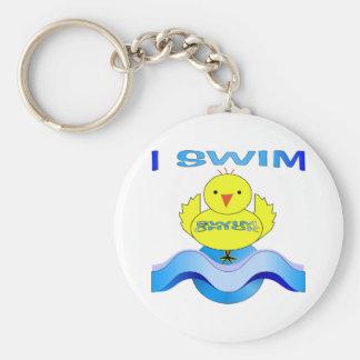 I Swim Basic Round Button Key Ring