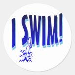 I Swim Classic Round Sticker
