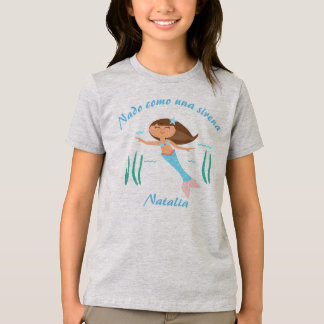 """I Swim like a Mermaid"" Girls' Spanish T-Shirt"