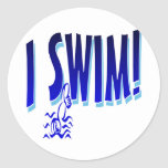 I Swim Round Sticker