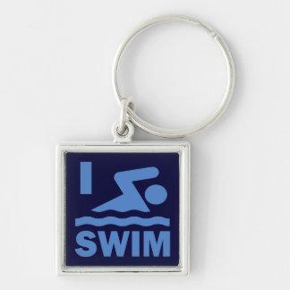 I Swim Silver-Colored Square Key Ring