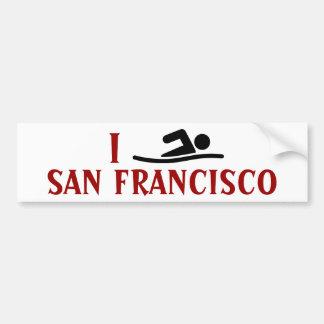 I SWIM <Your City> Custom Bumpersticker (black) Bumper Sticker