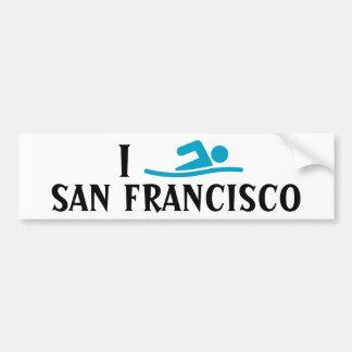 I SWIM <Your City> Custom Bumpersticker (blue) Bumper Sticker