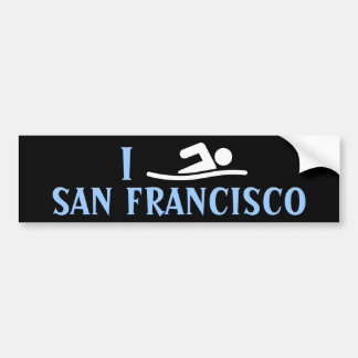 I SWIM <Your City> Custom Bumpersticker (white) Bumper Sticker