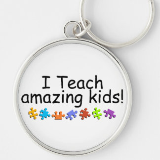 I Teach Amazing Kids (PP) Silver-Colored Round Key Ring