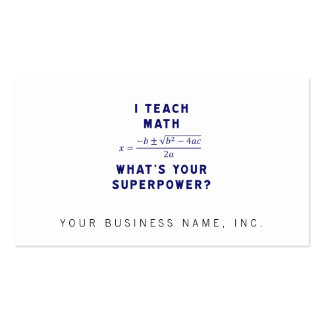 I Teach Math What s Your Superpower Business Card Template