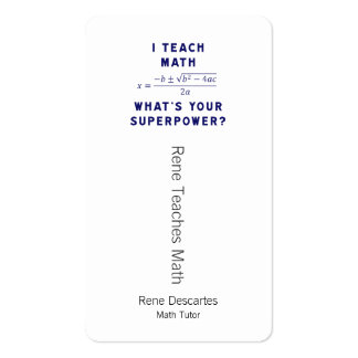 I Teach Math What's Your Superpower? Pack Of Standard Business Cards