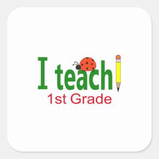 I TEACH SECOND GRADE SQUARE STICKERS