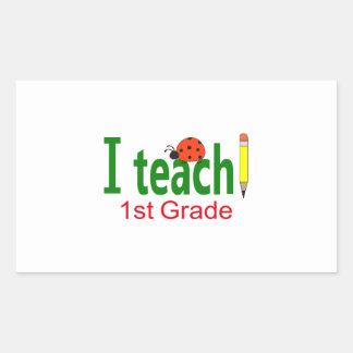 I TEACH SECOND GRADE RECTANGLE STICKER