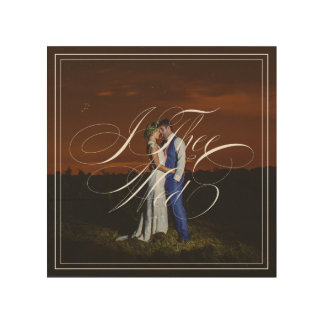 I Thee Wed Wedding Photo Wood Canvas Wall Art
