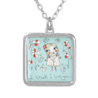 I think I love you... Square Pendant Necklace