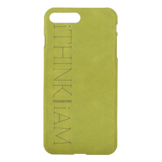 i THINK THEREFORE i AM green leather look iPhone 7 Plus Case