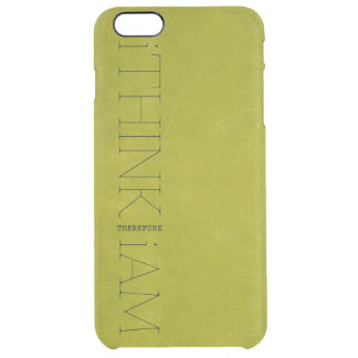 i THINK THEREFORE i AM green leather look Uncommon Clearly™ Deflector iPhone 6 Plus Case