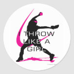 I Throw like a Girl Pink Softball Classic Round Sticker