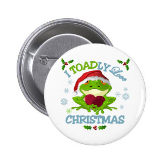 I Toadly Love Christmas Button Pin