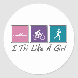 i tri like a girl (Triathlete) Classic Round Sticker